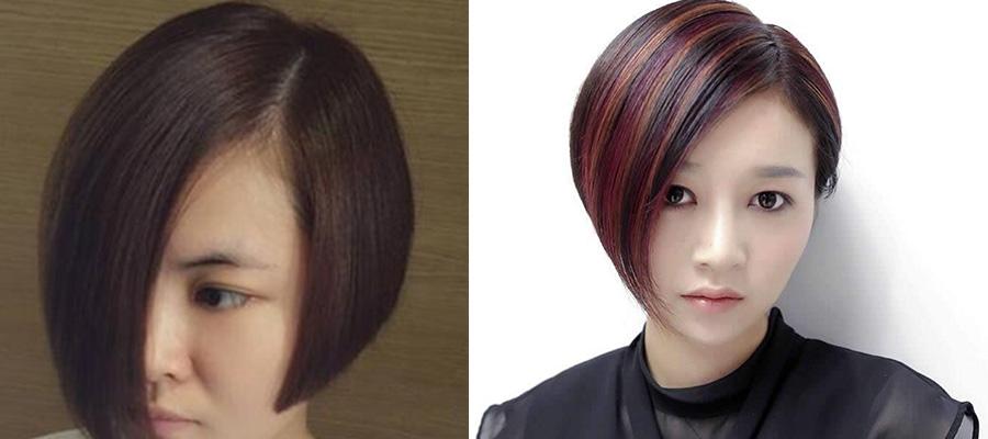 时髦短发一边长一边短-职场女性首选